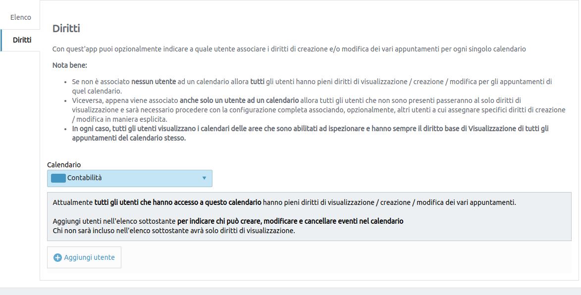 immagine: applicazione di gestione dei Diritti per i Calendari interni piattaforma