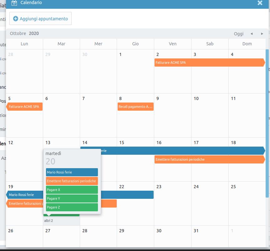 immagine: rappresentazione a video dei vari appuntamenti dei vari calendari all'interno dell'applicazione di PigrecoOS