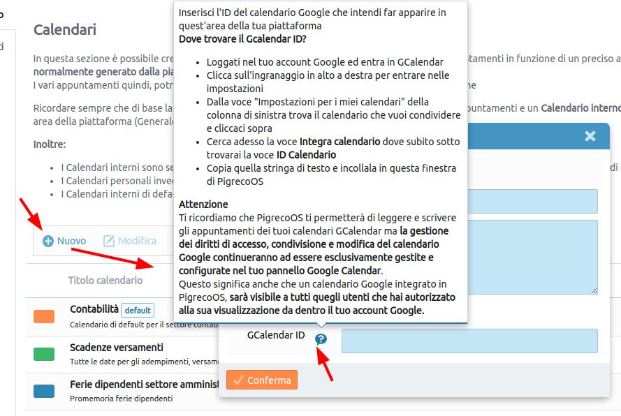 immagine: esempio di integrazione Google Calendar
